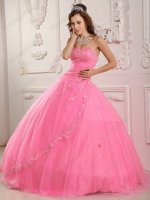 Rose Pink Sweetheart Appliques Edge Quinceanera Gown Dress Manufacturer Online