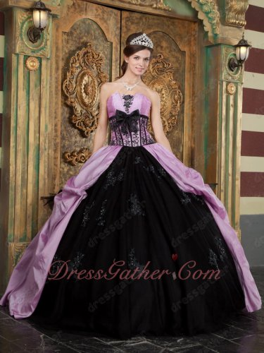 Puffy Black Flat Tulle Skirt With Lilac Taffeta Overlay Quinceanera Gown