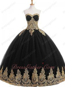Sweetheart Black Tulle Gold Pineapple Applique Stage Performance Evening Ball Gown