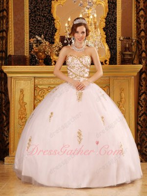 Designers List White Flat Puffy Slip Quinceanera Dress With Gold Embroidery Details