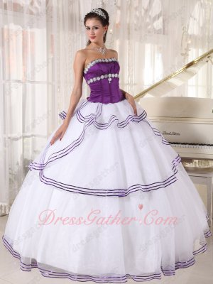 Grape Orchid Bodice White Plain Skirt With Shiny Sequin Edge 15 Birthday Ball Gown