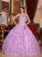 Lilac Wafer Sequins Skirt Quinceanera Party Ball Gown Fashion Icon