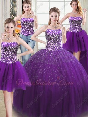 Silver Beadwork Detachable 4 Pieces Various Wear Quinceanera Vestido De Regency