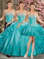 2019 Trend Color Turquoise Detachable Three-Pieces Quince Court Ball Gown Bubble Skirt