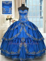 Western Quinceanera Gown Crossed Layers Skirt Royal Blue With Silver Embroidery Edge