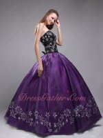 Embroidered Pentagram Stars Quinceanera Dress Black Coat/Top and Eggplant Bottom/Skirt