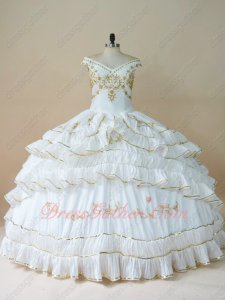 White Taffeta With Gold Embroidery Turnup Curly Layers Edging Quinceanera Spanish