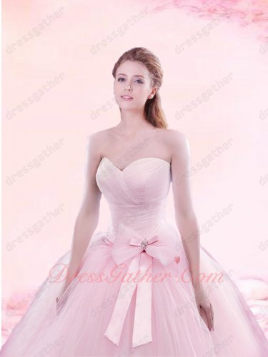 Girlish Pink Simple Brief Sweep Train Quinceanera Court Gown Without Embellish Details