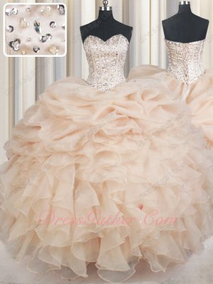 Half Bubble Half Ruffles Design Champagne Heroine Quinceanera Gown Puffy