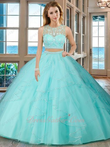 Ice Blue Two Pieces Show Waist Sweet 16 Ball Gown Ruffles Shiny Silver Sequin Hem