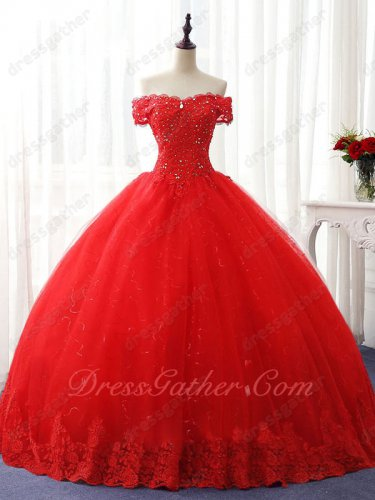 Off Shoulder Wavy Neck Applique Crystals Blouse Quinceanera Gown Sparkle Paillette
