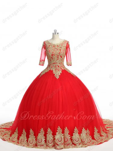See Through Scoop Half Sleeves Red Mesh Quinceanera Ball Gown Chapel Train Gold Detail