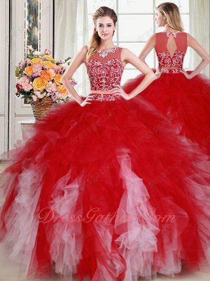 Two Pieces Separated Show Belly Red With Pink Tulle Ruffles Quinceanera Gowns Pageant