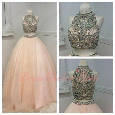 Two Pieces Full Beadwork Blush Popular Color Adult Ceremony At Cheap Price