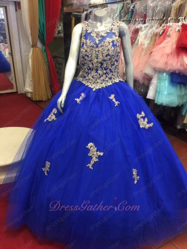 Elegant Quinceanera Ball Gown Royalty Blue With Gold Sparkle AB Crystal Appliques