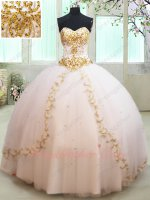 White Mesh Gauze With Gold Embroidery and Beading Flat Floor Length Quinceanera Gown
