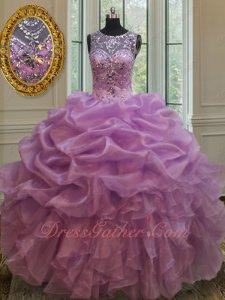 Dropped V Waist Bluging and Waterfalls Quinceanera Gown Dark Lilac Organza