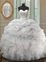 Stripes Beadwork Basque Half Bubble Half Ruffles Ball Gown For Quinceaneara Silver