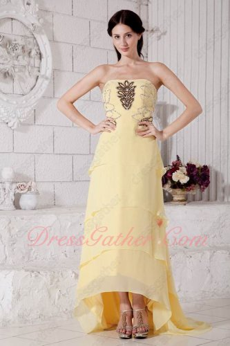 Light Moonlight Yellow Chiffon High Low Layers Show Heels Wedding Party Prom Dress