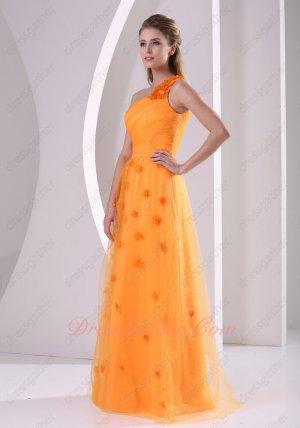 Fairy One Strap Bright Orange Soft Tulle Formal Evening Dress Florets Over Dress