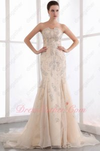 Exclusive Trumpet Fishtail Champagne Organza Formal Evening Gowns Full Crystals Beading
