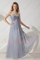 V Shaped Cut Out Strapless Sivler Soft Chiffon High School June Prom Gowns