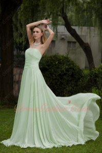 Simple Strapless Mint Green Chiffon Bridal Party Dama Dress Top Seller List