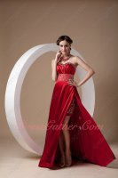 Dull Red Formal Party Gowns Floor Length Side Slit With Short Skirt Inside