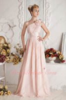 One Strap With Flowers Ruched Blush Pearl Pink Chiffon Prom Dama Formal Dresses Up