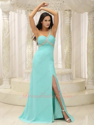 Discount Ice Blue Chiffon Wine Party Prom Dress Sweep Train Slit Skirt Reveal Left Leg