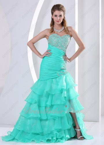 Dropped Oblique Waist Apple Green/Jade Organza Layers Formal Evening Dress Graceful