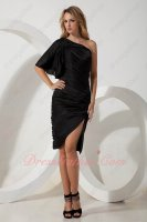 One Strap Half Sleeves Stretchy Black Spandex Junior Formal Gowns Sheath Short
