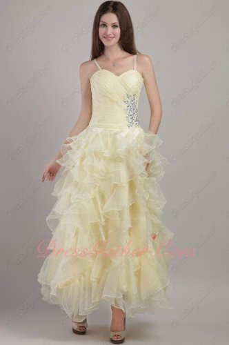Lightest Yellow Organza Ruffles Ankle Length Party Prom Gowns Inexpensive