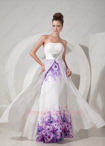 Empire Waist Middle Slit Open With Purple Printed Chiffon Formal Evening Attire