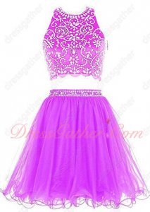 Curly Tulle Hemline Two-Pieces Amazon Hot Sell Summer Cool Prom Dress