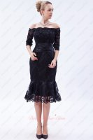 Portrait 1/2 Sleeves Off Shoulder Tea Length Trumpet Evening Gowns Attire Black