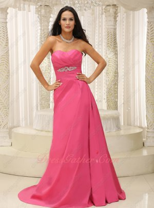 Deep Rose Pink Empire Waist Sweep Train Wedding Ceremony Suitable Formal Gowns