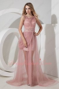 Sheer Tulle Scoop Neck Cameo Pink Juniors Formal Dress Half Lining Skirt