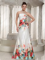 Colorful Flowers Print A-line Western Theme Formal Prom Dress Mature