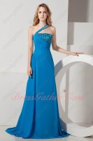 Quality Assurance Via Paypal One Shoulder Azure Blue Evening Dresses Cheap