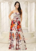 Printed Pattern Fabric A-line Different Unmatched Wine Party Formal Gowns Discount