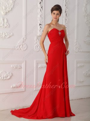 Scarlet Chiffon Bead and Crystal Decorated Slit Fun and Flirty Formal Prom Gowns