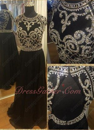 A-line Fully Silver Squiggly Cup Chain Bodice Black Vocal Concert Dress