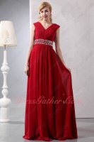 Older Women Modest Wine Red Chiffon Floor Length Formal Prom Gowns Unrevealed