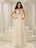Halter Expose Cleavage Pearl Champagne Backless Court Train Evening Dress Brand New