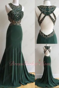 Unique Design Gold Bead Column Hunter Green Stage Show Dress Open Back