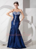 Peacock Navy Blue Taffeta Mermaid Package Ass Mature Lady Formal Military Attire