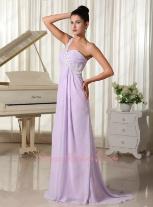 One Strap Empire Fresh Lilac Brush Train Formal Prom Dress Trend Color Of 2019