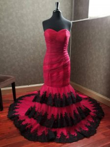 Sweetheart Ruched Mermaid Tiered Applique Skirt Red And Black Gothic Unique Wedding Dress