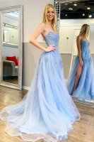 Spaghetti Straps Bateau Applique Baby Blue Masque Party Dress With Slit